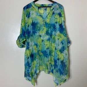 Grand & Greene Blue Green Floral Tie Dye Blouse 2X